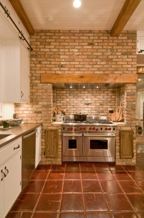 Hamptons Retro Rustic Kitchen with Brick Wall Oven Range