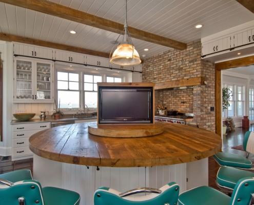 Hamptons Retro Rustic Kitchen with Hidden Flat Screen TV