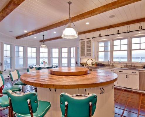 Hamptons Retro Rustic Kitchen with Retro Bar Stools