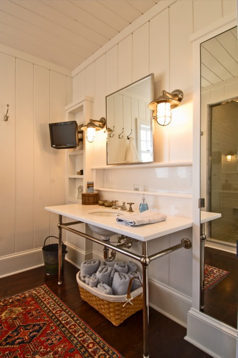 Hamptons Bathroom with Wall Mounted TV