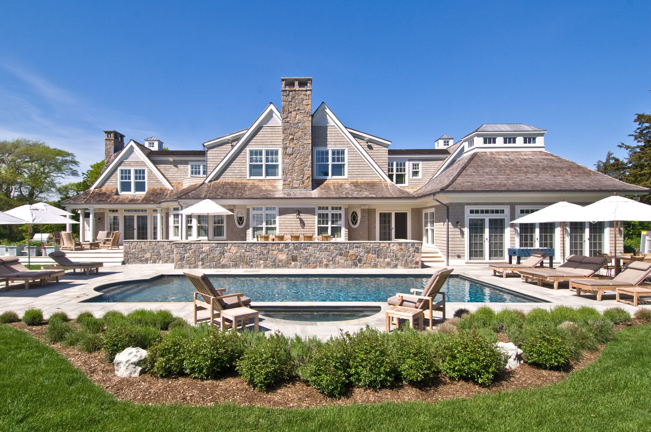 Pools cabanas hamptons habitat for Luxury home exteriors