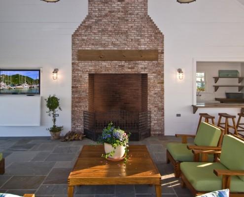 Bayfront Hamptons Pool House Fireplace