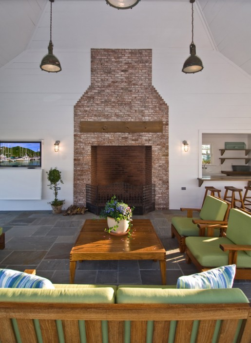 Bayfront Hamptons Pool House Fireplace