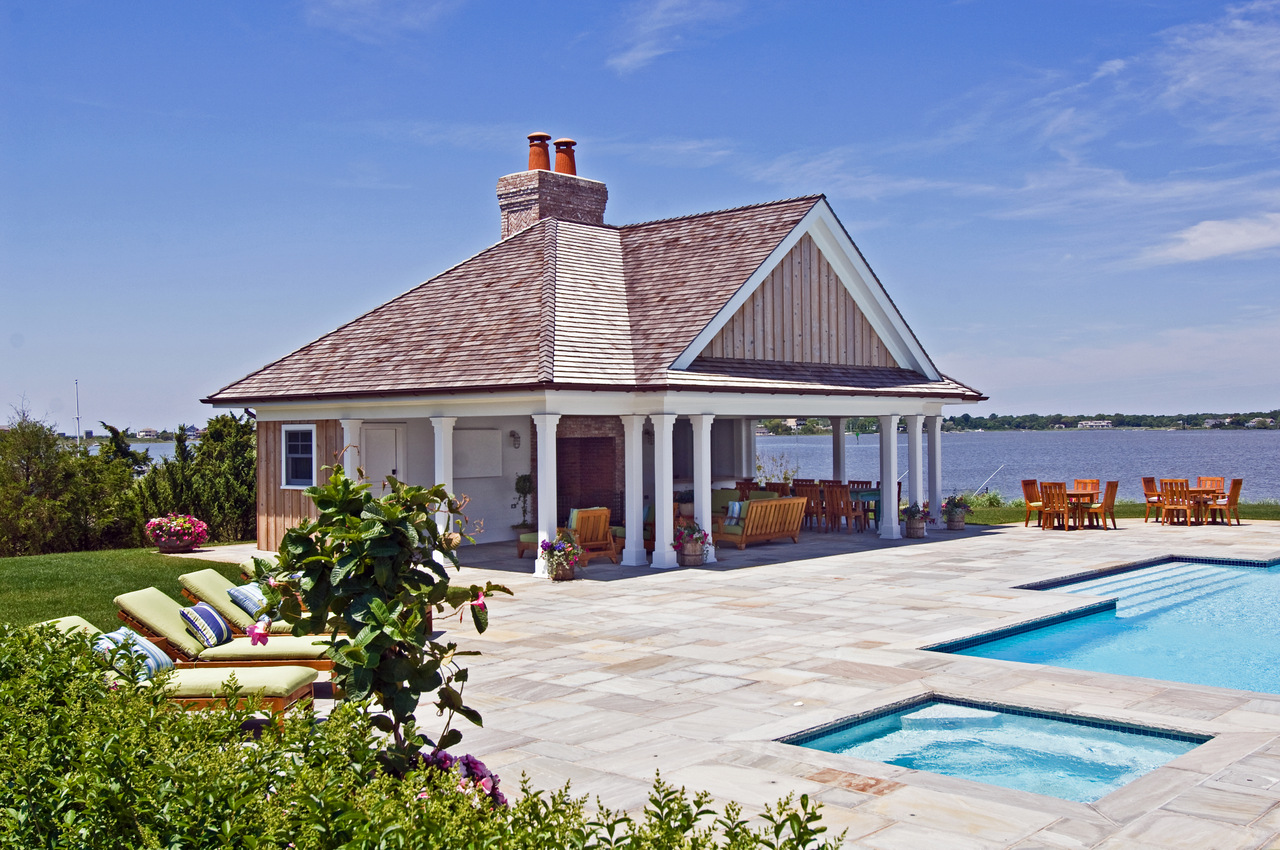 Bayfront pool cabana hamptons habitat for Pool and pool house