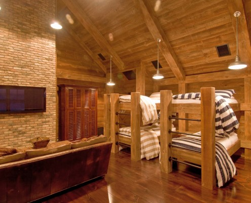 Industrial Rustic Bunk Room with Custom Built Bunks