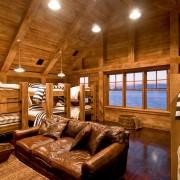 Industrial Rustic Bunk Room with Custom Bunk Beds