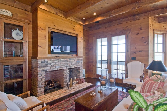 Rustic Family Room with TV & Fireplace