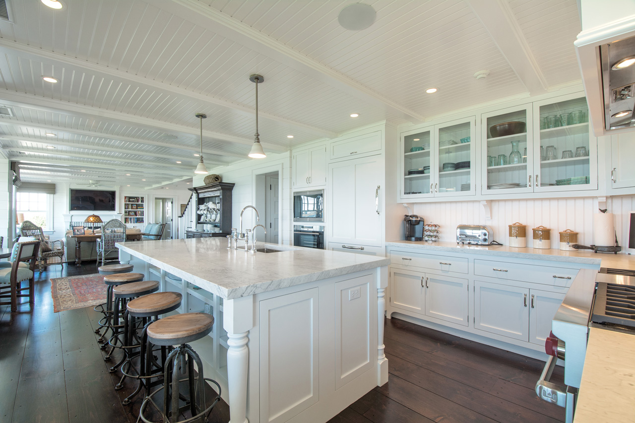 Sit On Top Of White Cabinetry In This Hamptons Beach House Kitchen